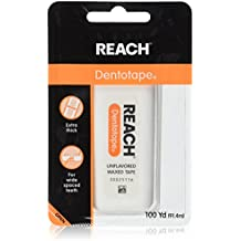 Reach Dentotape Waxed Dental Floss with Extra Wide Cleaning Surface for Large Spaces between Teeth, Unflavored, 100 Yards (Pack of 6)