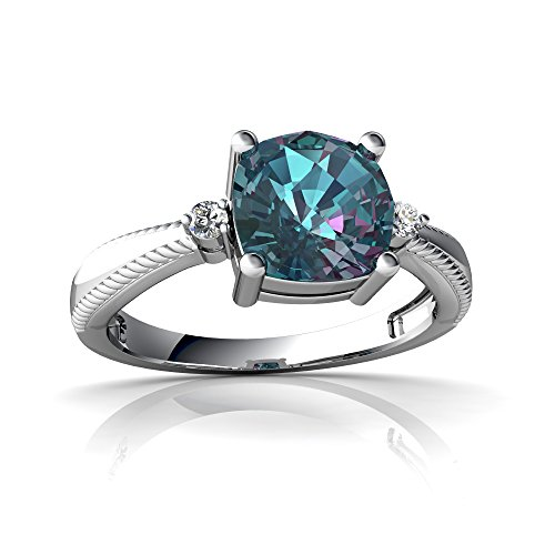 Cushion Rope Ring - 14kt White Gold Lab Alexandrite and Diamond 6mm Cushion Cushion Rope Ring - Size 6.5