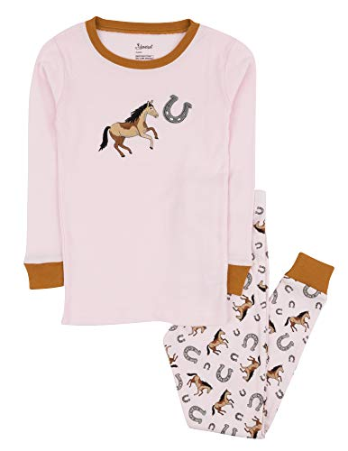 Leveret Kids Pajamas Boys Girls 2 Piece pjs Set 100% Cotton (Horse Pink, Size 8 -