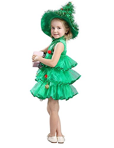 Little Girls Christmas Dresses Christmas Tree Outfits Party Costume (10, Dress+Hat)