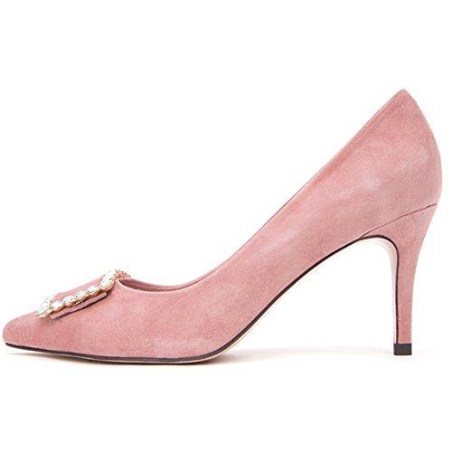 H04w8510 Peu Talon Hauts Carrée Amende Profond Talons Sunny Chaussure Pink De Féminins Boucle Bouche Mode Printemps avWSq1Sd