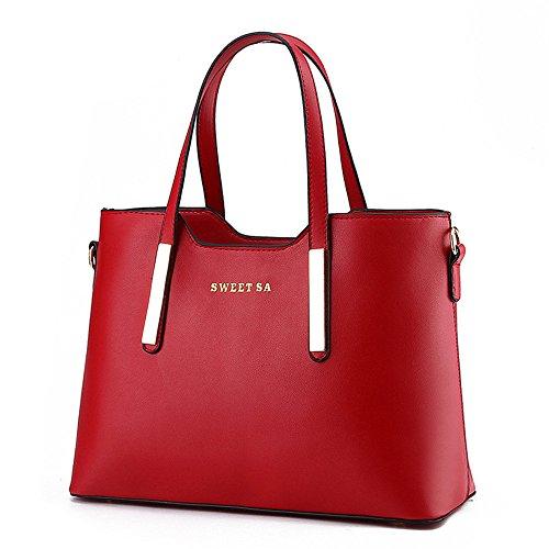 Wewod bolsos bandolera de mujer baratos/bolso al hombro de pu cuero/Carteras de mano/Bolsos totes elegante 33 x 24 x 13 cm (L*H*W) Rojo