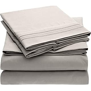 Mellanni Bed Sheet Set - Brushed Microfiber 1800 Bedding - Wrinkle, Fade, Stain Resistant - Hypoallergenic - 4 Piece (King, Light Gray) (B00SU0QSZ8) | Amazon price tracker / tracking, Amazon price history charts, Amazon price watches, Amazon price drop alerts