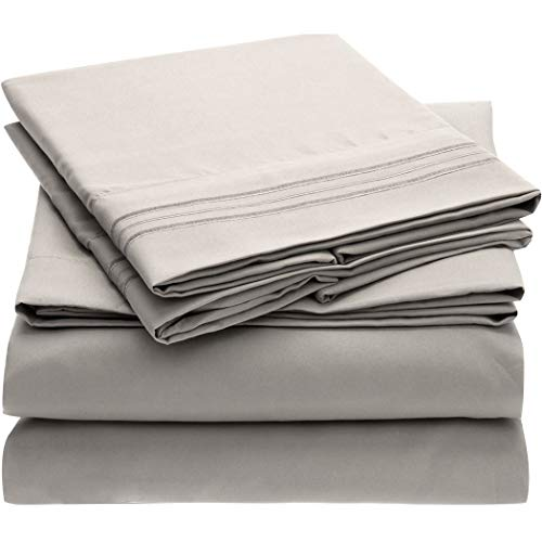 Mellanni Bed Sheet Set Brushed Microfiber 1800 Bedding - Wrinkle, Fade, Stain Resistant - 5 Piece (Split King, Light Gray) (Difference Between Bed Linen And Bed Sheet)