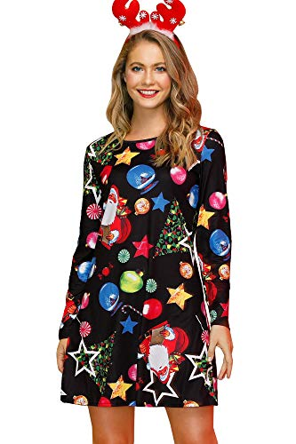 For G and PL Women Christmas Long Sleeve Party Printed Casual Swing Tunic Mini Dress Colorful L from For G and PL