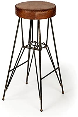 Awe Inspiring The Rockefeller Handmade Tall Leather Stool From The Barrel Shack Gamerscity Chair Design For Home Gamerscityorg