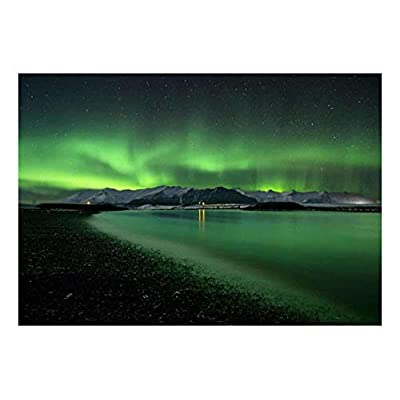 Unbelievable Artistry, Professional Creation, Green Northern Lights Being Reflected on a Lake Wall Mural