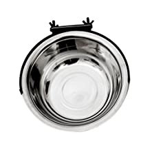 Stainless Steel Hanging Pet Cage Bowl,Pet Dog Stainless Steel Coop Cup Crate Water and Food Bowl By Cydnlive (XL)