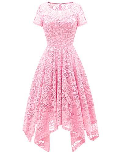 Bridesmay Women's Elegant Short Flare Sleeves Floral Lace Asymmetrical Hanky Hem Cocktail Party Bridesmaid Dress Pink M ()