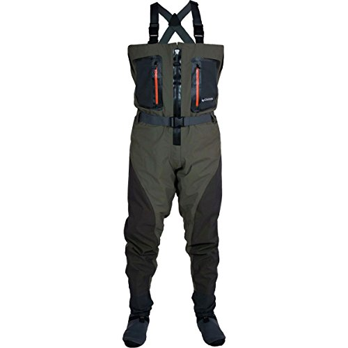 Compass 2111165 xx pt guide zippered breathable waders for Fishing waders amazon