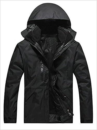 APTRO Men's Windbreaker Jacket 3 in 1 Taped Rainproof Zipper (XL, Black)