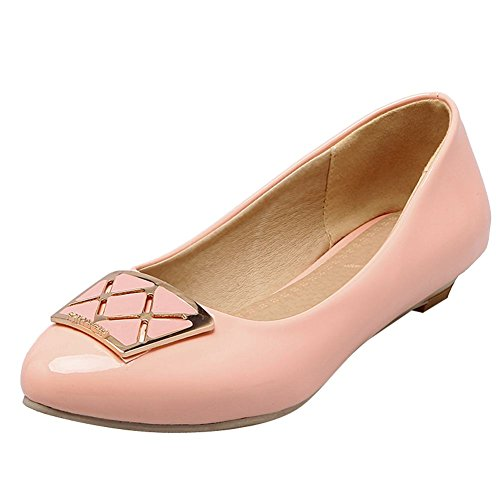 Carolbar Womens Patent Leather Cuff Pointed Toe Low Heels Loafers Shoes Pink DDbRr9