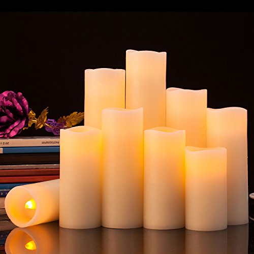 Pandaing Flameless Candles Battery Operated LED Pillar Real Wax Flickering Electric Unscented Candles with Remote Control Cycling 24 Hours Timer, Ivory Color, Set of 9 by Pandaing (Image #2)