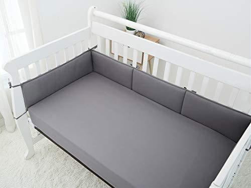 Napping Microfiber Crib Bumper, Safe Soft Breathable and Hypoallergenic, Fits Standard Size Crib 28in x 52in, Machine Washable, Grey