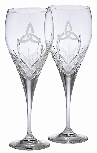 (Galway Crystal Trinity Knot Large Wine Pair )