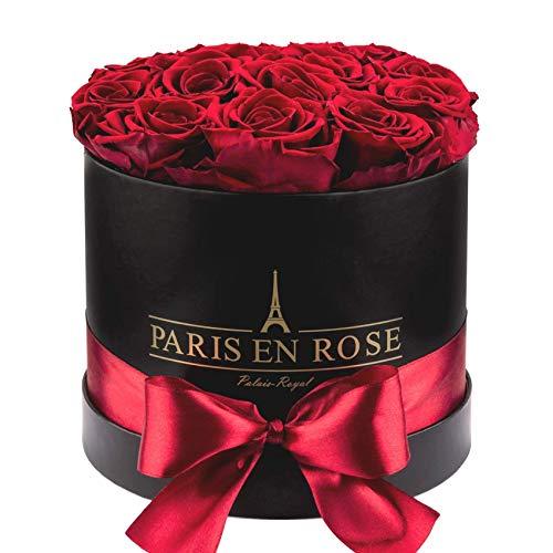 (PARIS EN ROSE Palais-Royal Rose Box, Genuine (Preserved), Premium Cardboard Box, Satin Ribbon, Black/Burgundy,)