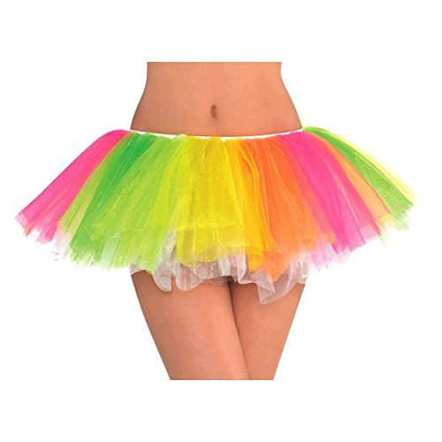 AMSCAN Black Light Neon Rainbow Tutu Halloween Costume Accessories, One -