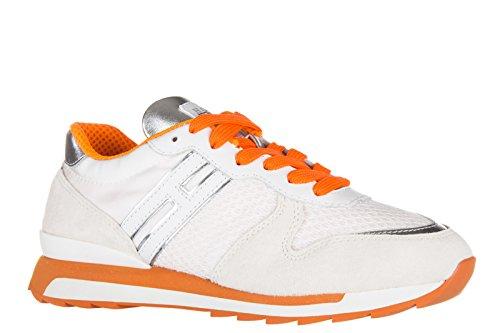best website 86a65 23753 Hogan Rebel chaussures baskets sneakers femme en daim r261 allacciato blanc  ...