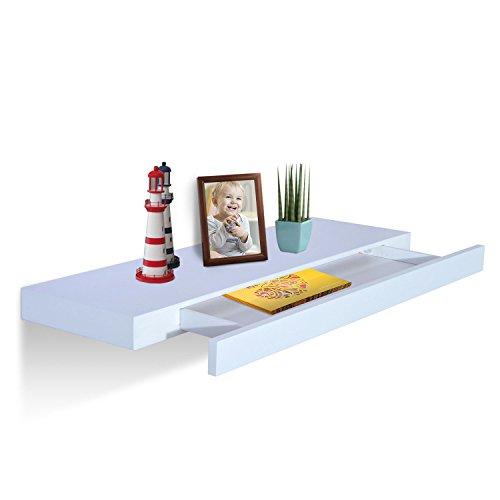 HOMCOM Wall-Mounted Floating Storage Shelf with Drawer (32 Inch)