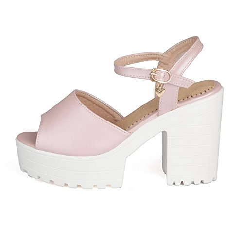 Solid Womens AmoonyFashion Heels Pink Open High Toe Sandals Buckle Heeled Pu PddwEqp