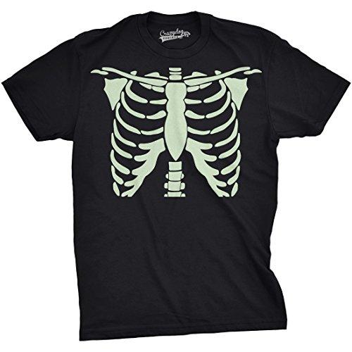 - Crazy Dog T-Shirts Mens Glowing Skeleton Rib Cage Cool Halloween T Shirt (Black) S
