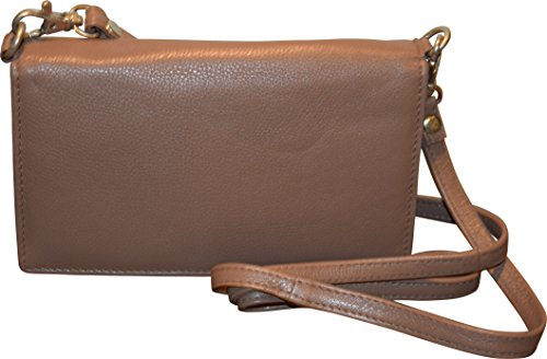 Genuine Leather Phone Wallet Shoulder Smart Women's Pielino Strap Crossbody With Taupe Fw7OqBH
