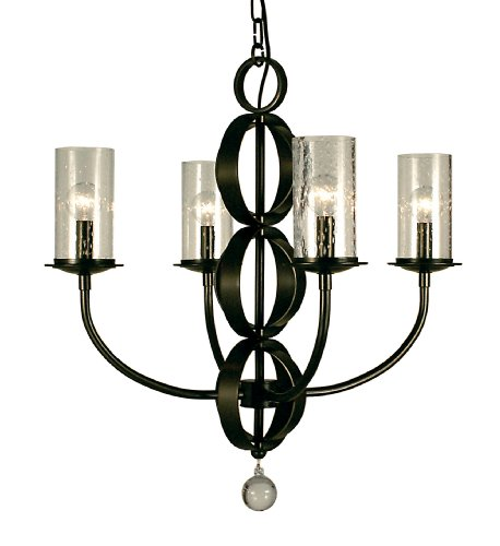 Framburg Bronze Pendant - Framburg 1044 MB Compass 4-Light Chandelier with Clear Seedy Glass, Mahogany Bronze