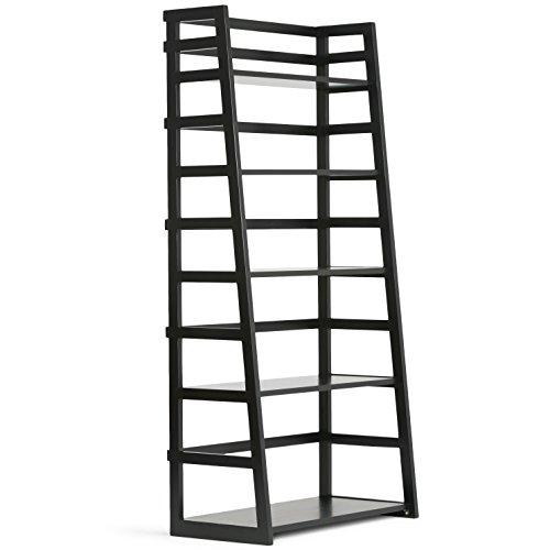 Simpli Home AXSS008KD-BL Acadian Solid Wood 63 inch x 30 inch Rustic Ladder Shelf Bookcase in Black