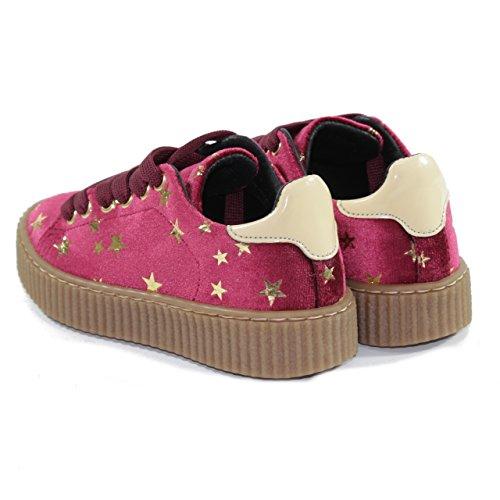 HAPPINESS Schuhe für Mädchen mit Strings, in Samt, Sternen, Made in Italy Bordeaux