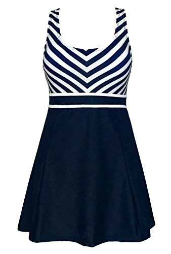 Striped Navy Dress Suit (Women's One Piece Sailor Striped Swimsuit Plus Size Swimwear Cover up Swimdress Navy Blue IT46/US12)