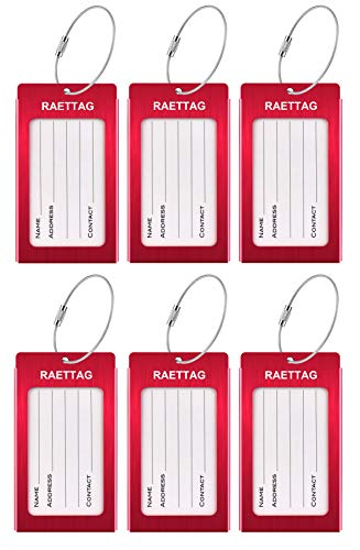 Luggage Tags, LLFSD Metal Suitcase Tags Travel Bag ID Identifier Luggage Tag (Red 6-Pack) ()