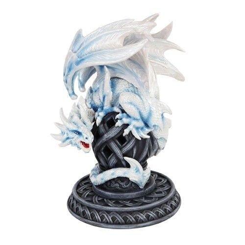 Pale Frostbite White Dragon Guarding Celtic Artifact Figurine Incense Burner premium decor collectible figurine
