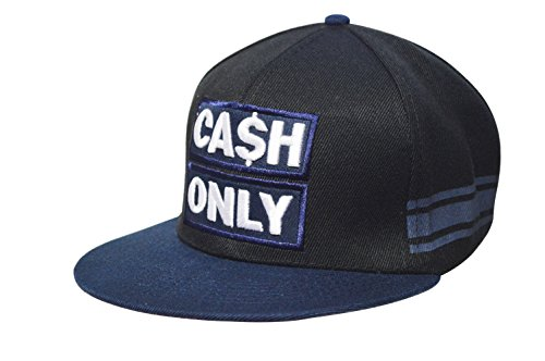 - Unisex Adult Size Men Women Embroidered Cash Only Adjustable Snap Back Sports Outdoor 6 Panel Flat Bill Hat Baseball Cap DF-381 (Navy-Black)
