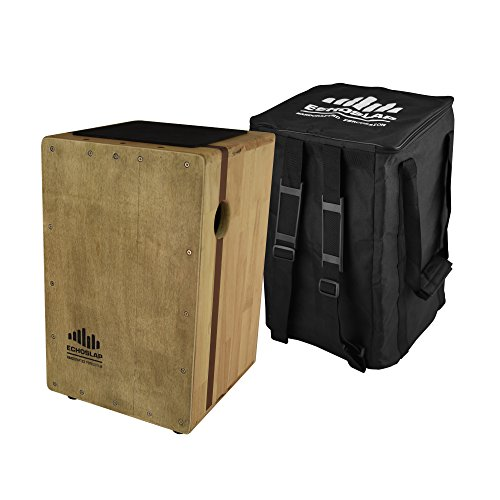 Echoslap Solid Siam Oak Bass Cajon -Vintage Light, Deep Bass Tones, 3 Snare Wires for Crisp Buzz