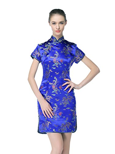 Bitablue Women's Chinese Dragon and Phoenix Knee-Length Dress (Royal Blue, X-Large)