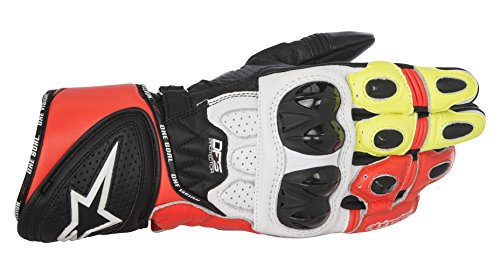 - Alpinestars Men's GP Plus R Leather Glove (Black/White/Yellow/Red, X-Large)