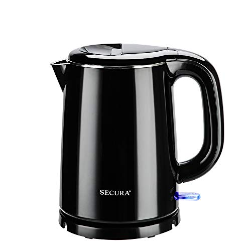 Secura SWK-1001DB Stainless Steel Double Wall Electric Kettle Water Heater for Tea Coffee w/Auto Shut-Off and Boil-Dry Protection, 1. 0L, Black (1 Liter Electric Tea Kettle)