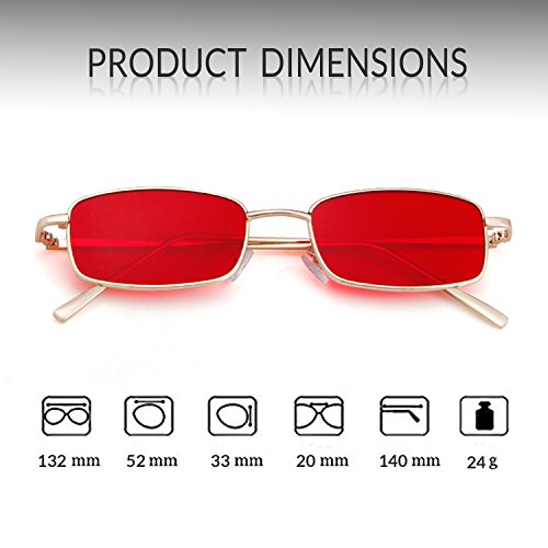 Fashion Frame Men Lens Retro Red Square Gold ADEWU Glasses for Sunglasses Women EgWqxPw7