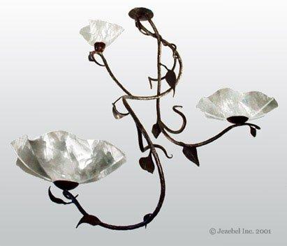 Magnolia Branch 3 Blossom Chandelier, Lotus