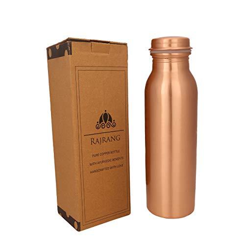 RAJRANG BRINGING RAJASTHAN TO YOU Pure Copper Water Bottle 32 oz - Leak Proof Design Vessel Ayurvedic Health Benefit Pitcher for Sport, Fitness, Yoga
