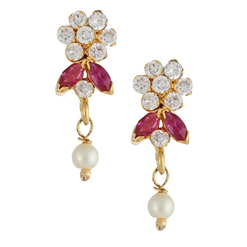 Jaipur Art - Efulgenz Indian Bollywood Designer 18 k Gold Plated Traditional CZ Stud Earrings Jewelry for Women and Girls Gift for Her