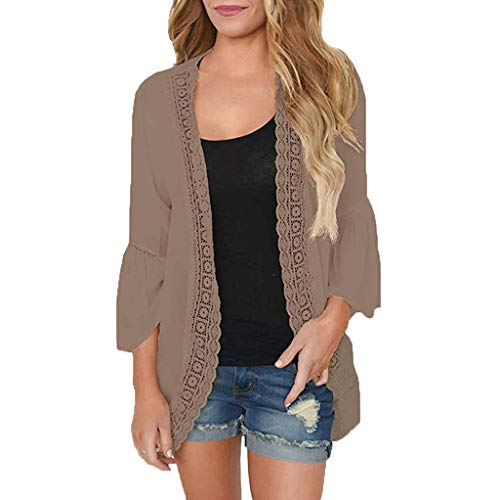 (Womens Plue Size Casual Solid Lace Long Sleeve Chiffon Cardigan Loose Kimono Blouse Tops Brown)