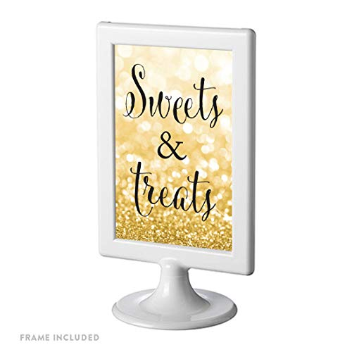 Andaz Press Framed Wedding Party Signs, Glitzy Gold Glitter, 4x6-inch, Sweets & Treats, 1-Pack, Dessert Table Sign