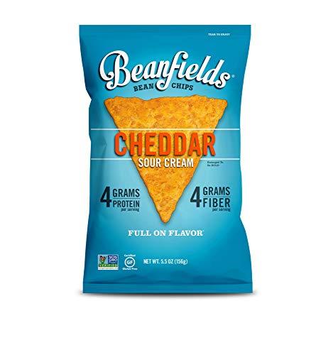 Beanfields Bean Chips, High Protein and Fiber, Gluten Free, Vegan Snack, Cheddar Sour Cream, 5.5 Ounce (Pack of - Vegan Cheddar