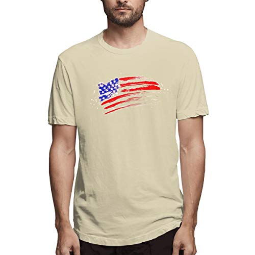 - ZYuhang Men American Flag Scribble Tee Shirts Natural XXL