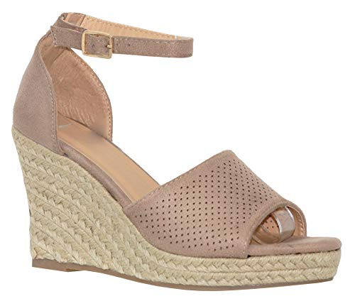 MVE Shoies Womens Stylish Comfortable Ankle Adjustable Strap Open Toe Wedge Sandal, Taupe 8