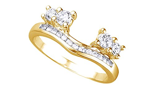 (Jewel Zone US White Cubic Zirconia Solitaire Anniversary Wrap Enhancer Ring in 14k Yellow Gold Over Sterling Silver)