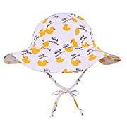 ThunderCloud Baby 50+ SPF UV Protective Bucket Sun Hat,White+Duck,0-12 Months