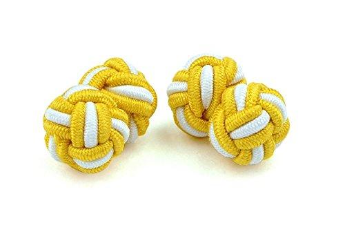 Moda Di Raza- Mens Shirt Cufflinks Silk Knot Designer Cuff links French Cuffs - Gold (White Cufflinks Gold Designer)