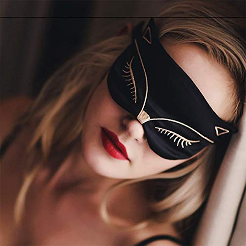 - KingLeChange Natural Silk Sleep Eye Mask Light Blocking Comfortable Fox Night Mask with Adjustable Strap - Great For Travel, Shift Work, Nap, Blindfold for Sleeping Girls Women & Kids 1 Pack